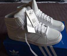Adidas AROS VS MEDIO Triple Blanco Raros Grado B UK 8 Eu42 Zapatillas High Top Nuevo