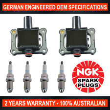 4x Genuine NGK Spark Plugs & 2x Ignition Coils for Mercedes Benz C200 CLK200