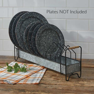 New Primitive Farmhouse CHICKEN FEEDER PLATE RACK HOLDER Metal Display Stand