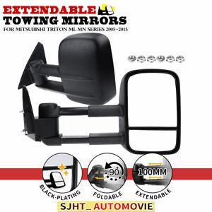 2x Black Manual Extendable Towing Mirrors for Mitsubishi Triton ML MN 2005-2015
