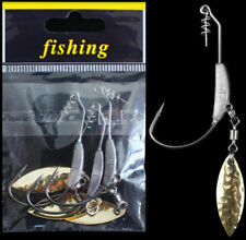 3PCS Fishing Crank Hook with Lead Metal Spoon Sequins Soft Worm Hooks 2# 4.5g
