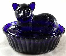 Cobalt Blue Glass Kitty Cat Sitting on Basket 2 Piece Candy Dish