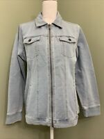Denim & Co. Petite Comfy Knit Denim Zip Front Jacket (Bleach Wash, PL) A349711
