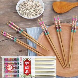 10 Pair Wooden Bamboo Chopsticks Chinese Food Chop Sticks Stir Fry Party New UK