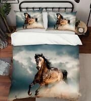 3D Horse Running ZHUA1706 Bed Pillowcases Quilt Duvet Cover Set Queen King Zoe