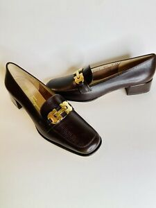 NEW SALVATORE FERRAGAMO BOUTIGUE DARK BROWN GOLD LEATHER DRESS SHOES LOAFERS SZ8