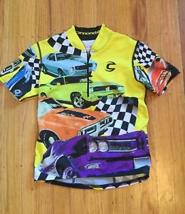 Cannondale Kids Cycling Jersey Short Sleeve Size Medium 6-8 Muscle Cars Racing