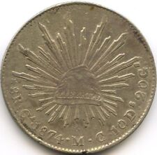 MEXIQUE REPUBLIQUE 8 REALES 1874 GA MC GUADALAJARA KM 377.6