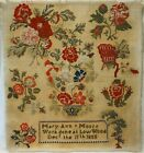 MID 19TH CENTURY FLOWER BASKET & ROSES SAMPLER BY MARY ANN MOOR - Dec'r 11 1858