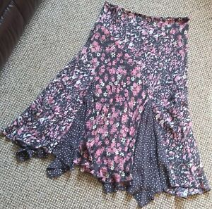 Ladies Size 12r Per Una Pink/white/Grey Floral Lined Floaty Knee Length Skirt
