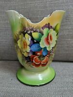 Vintage Hand Painted Yellow and Green  Floral Vase, Made In Japan Gold Castle