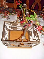 "WROUGHT IRON LEAF AND BIRDS DESIGN BASKET WITH WOOD BOTTOM 14"" X 12 1/2"" X 9"""