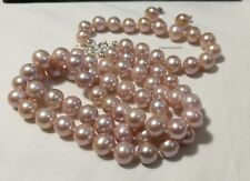 Genuine 9-10mm round freshwater pearl in silver necklace+bracelet set L55/18cm