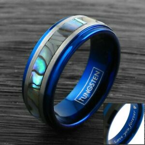 CLOSEOUT! 8mm Blue Men's Ring Tungsten Brushed Silver Abalone Band