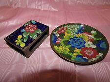 Vintage Cloisonne Enamel MATCH BOX COVER & ASHTRAY SET Floral on Cobalt Blue