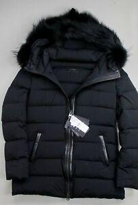 Mackage Calla Genuine Fox Fur Trim Hooded Down Coat Medium Black