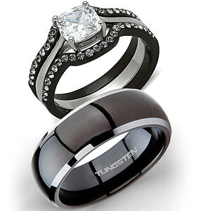 His Titanium & Hers 4 Pc Black Stainless Steel Wedding Engagement Ring Band Set