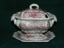 Three Piece Ironstone Tureen With Red Transfer Print_4064