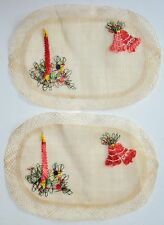 Set of 2 Vintage Lace Rafia Straw Placemats Woven Christmas Holiday Candle Bells