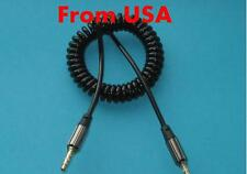 1.2 m Black 3.5mm Coiled Aux Auxillary Audio Cable Spiral Curly for iPod iPhone