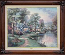 Thomas Kinkade Painting Hometown Lake, Lithograph on Canvas with Coa