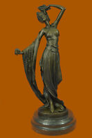 Pretty Young Maiden Girl Holding Flower Bronze Statue Sculpture Art Deco Nude