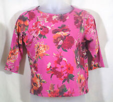 Talbots Knit Top Womens Size XL Pink Floral Scoop Neckline 3/4 Sleeves