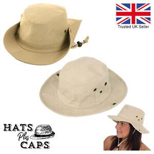 100% Cotton Sun Hat Wide Brim Aussie Style Bush Safari Hat with Chinstrap