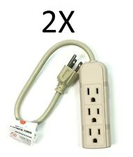 2 x 1Ft Power Strip Grounded Power Extension Cord 3 Outlet 13A/125V/1625W