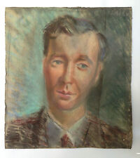 ANTIQUE 1930's RUSSIAN PASTEL PAINTING ARTIST N. ISSAIEV PORTRAIT MEN