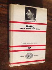 MACHIAVELLI TEATRO ANDRIA MANDRAGOLA CLIZIA EINAUDI NUE 167 - 1979