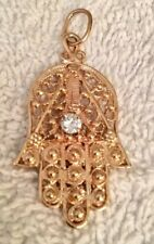 14k Solid Gold Hamsa Pendant / Charm 30 Point Diamond 3 Day Sale