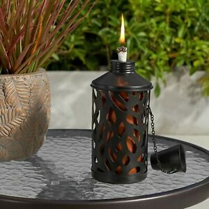 New Table Top Tiki Torch Metal Outdoor Citronella Mosquito Deterrent Patio Torch