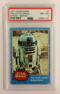 1977 TOPPS STAR WARS TRADING CARD - SERIES 1: BLUE - #3 R2D2 ARTOO-DETOO - PSA 8