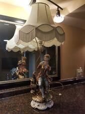 Antique Italian Porcelain Figure Figural Lamp
