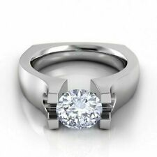 Euro Shank Ring 925 Sterling Silver 2.00 Tcw Diamond Tension Set Engagement