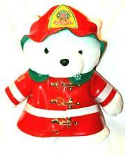VTG 1996 Dayton Hudson Christmas Holiday Fireman Red/White Plush Santa Bear