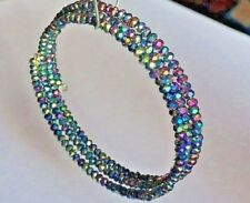 Rainbow Coloured Electroplated Faceted Glass Abacus Bead Memory Wire Bracelet.