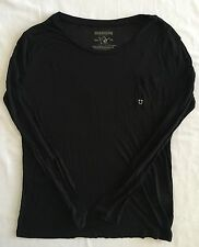 TRUE RELIGION Black White Long Sleeve LS Scoop Neck Bling Tee T-shirt XS S M L