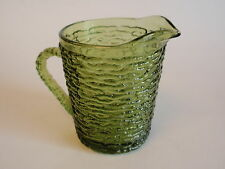 Vintage Anchor Hocking Avocado Green Soreno Creamer Small Pitcher Retro Pour
