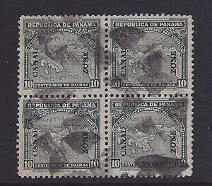 Bigjake: Canal Zone, #37, 10 ct. Map with overprint, used  Block of Four