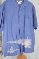 Joe Marlin Large Cotton Blue Lighthouse Men's Shirt