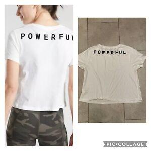 Athleta Sz Large Daily Crop Crew Tee Shirt - Powerful - Graphic White EUC!