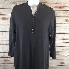 J. Jill Dark Gray Sweater Dress Size XL Cotton Silk Blend Long Sleeve Buttoned