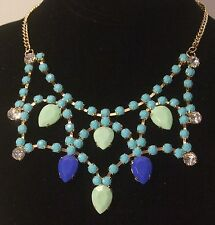 Multicolor Blue & Gold Plated Design Fashion Necklace w/Adjustable Chain