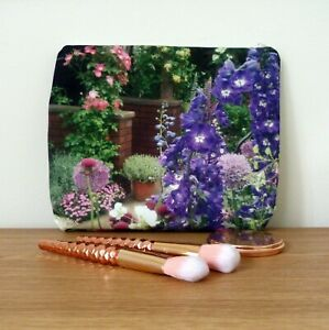 Make up Bag Cosmetic Large Women Floral Faux Canvas Flat Handmade Travel