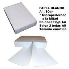 Papel microperforado, trepado o microcorte A4 blanco 80gr. 100h