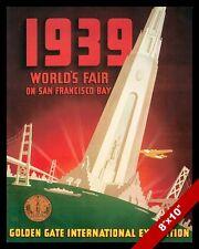 VINTAGE 1939 SAN FRANCISCO WORLD'S FAIR TRAVEL AD POSTER ART REAL CANVAS PRINT