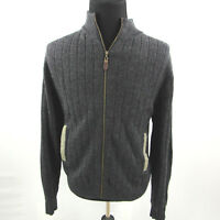Orvis Wool Zip Cardigan Mens Large Elbow Patches Pockets Grey Hunt Fish Outdoor