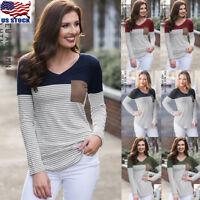 Women's Striped Blouse Basic V Neck T Shirt Long Sleeve Casual Pocket Tops S-XXL